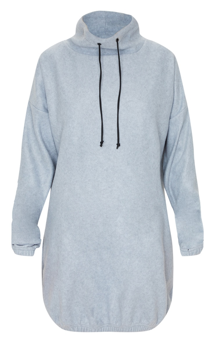 Grey Fleece Drawstring Neck Elastic Hem Jumper Dress 3
