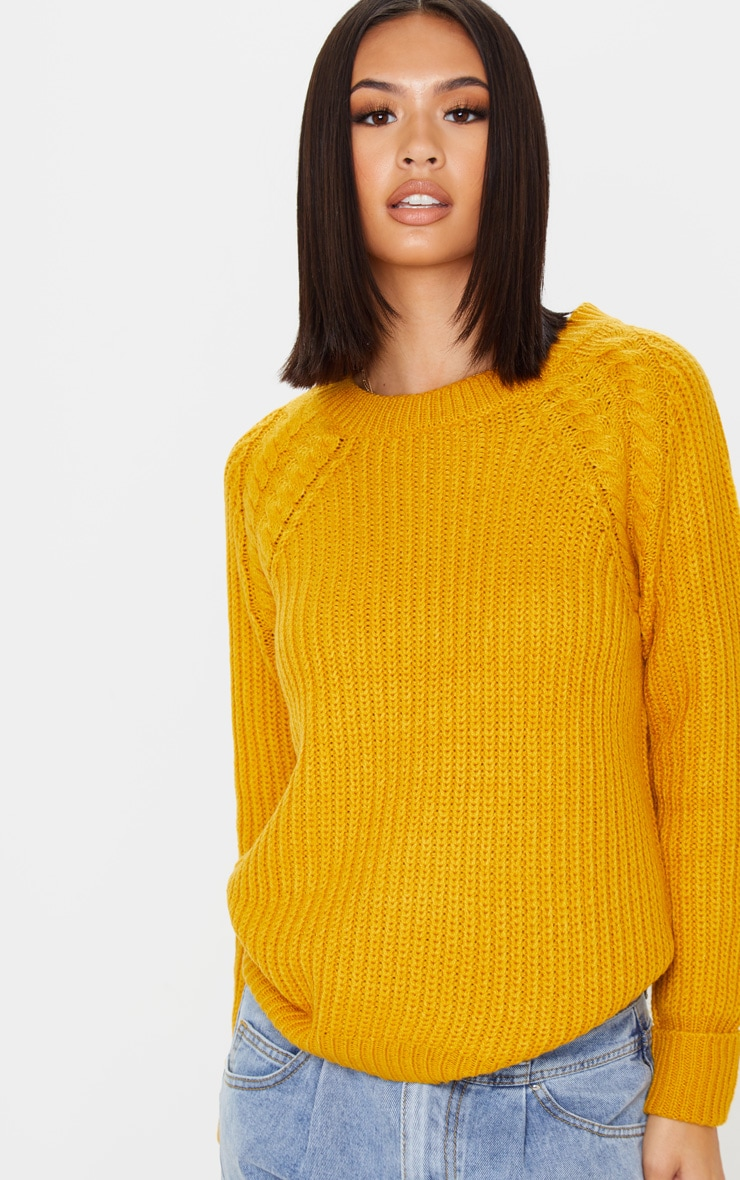 Mustard Cable Shoulder Chunky Knitted Sweater 5