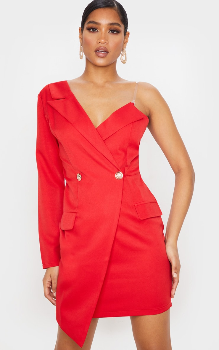 Red Asymmetric One Shoulder Blazer Dress 1