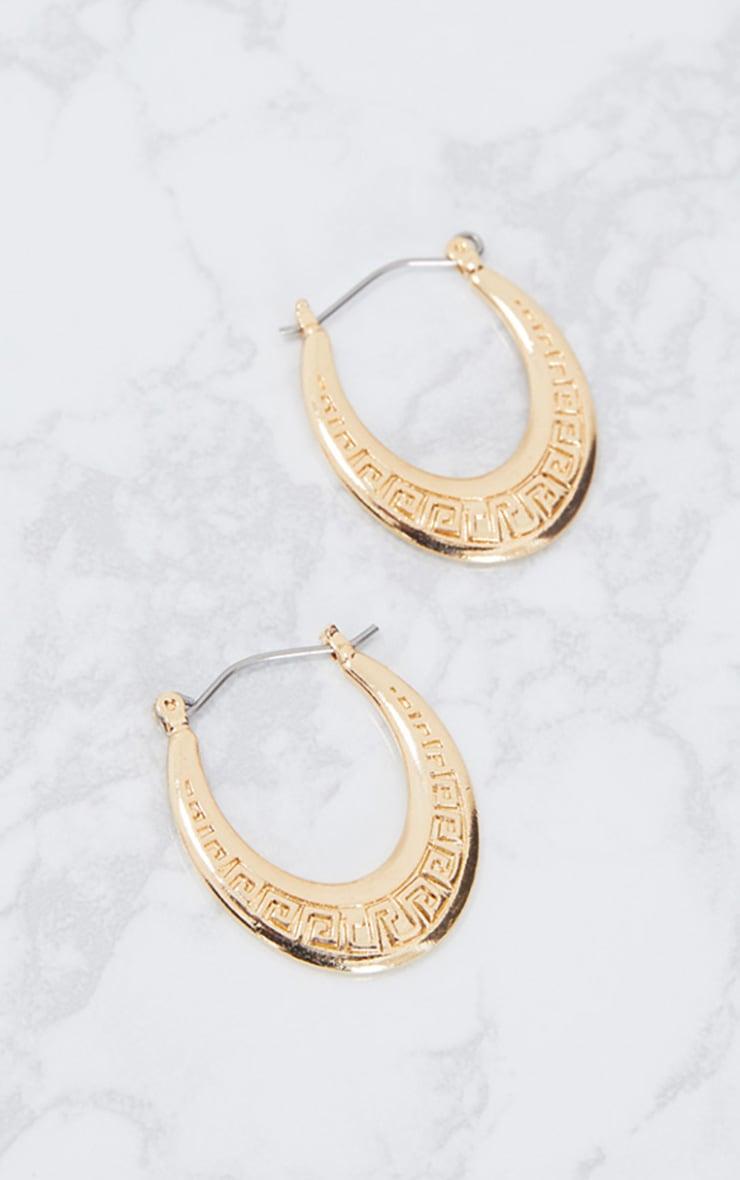 Gold Greek Key Engraved Chunky Hoop Earrings 3