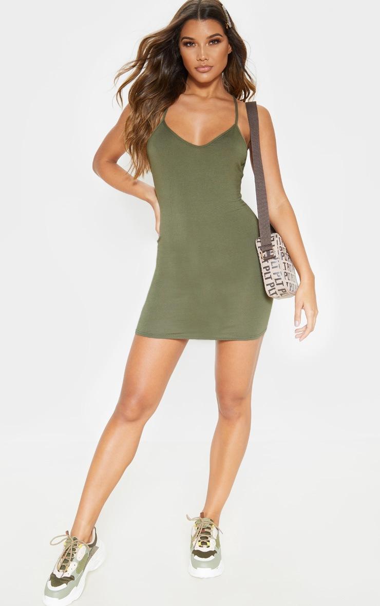Khaki Plaited Back Bodycon Dress 4