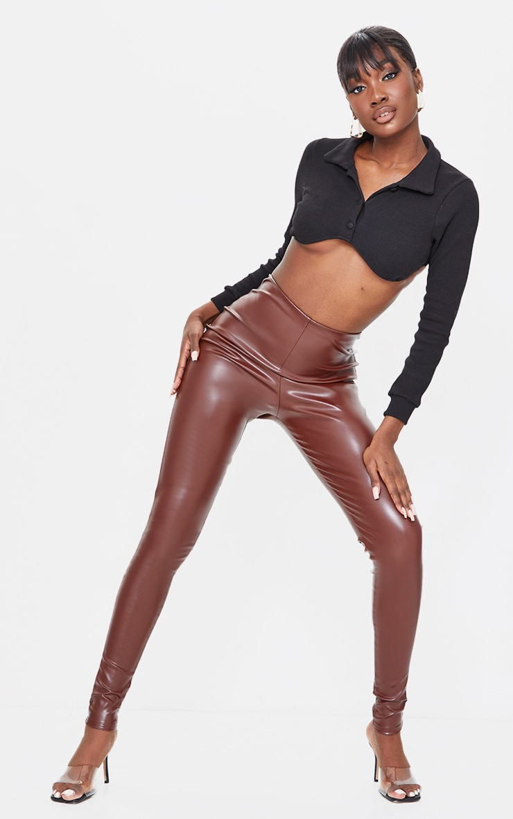 Tall Chocolate Basic Faux Leather High Waist Leggings 1