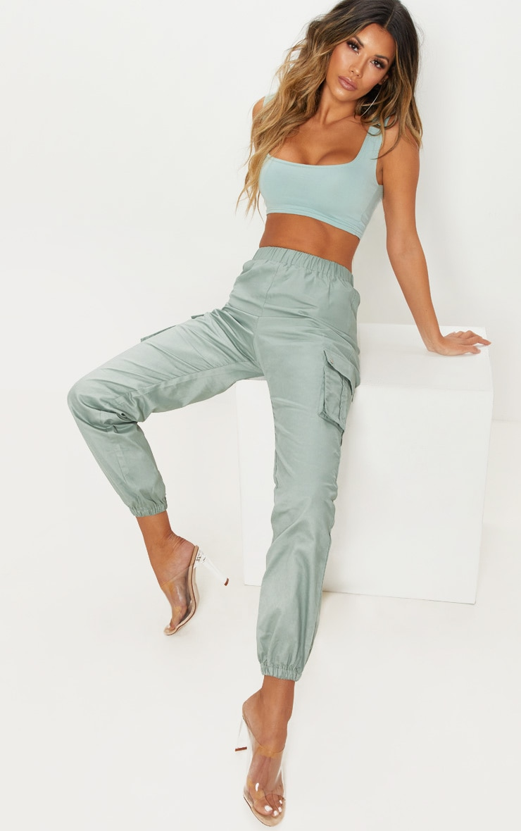 Sage Green Pocket Detail Cargo Trousers by Prettylittlething