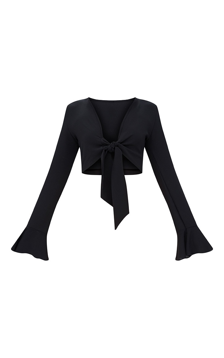 Black Tie Front Frill Sleeve Blouse  3