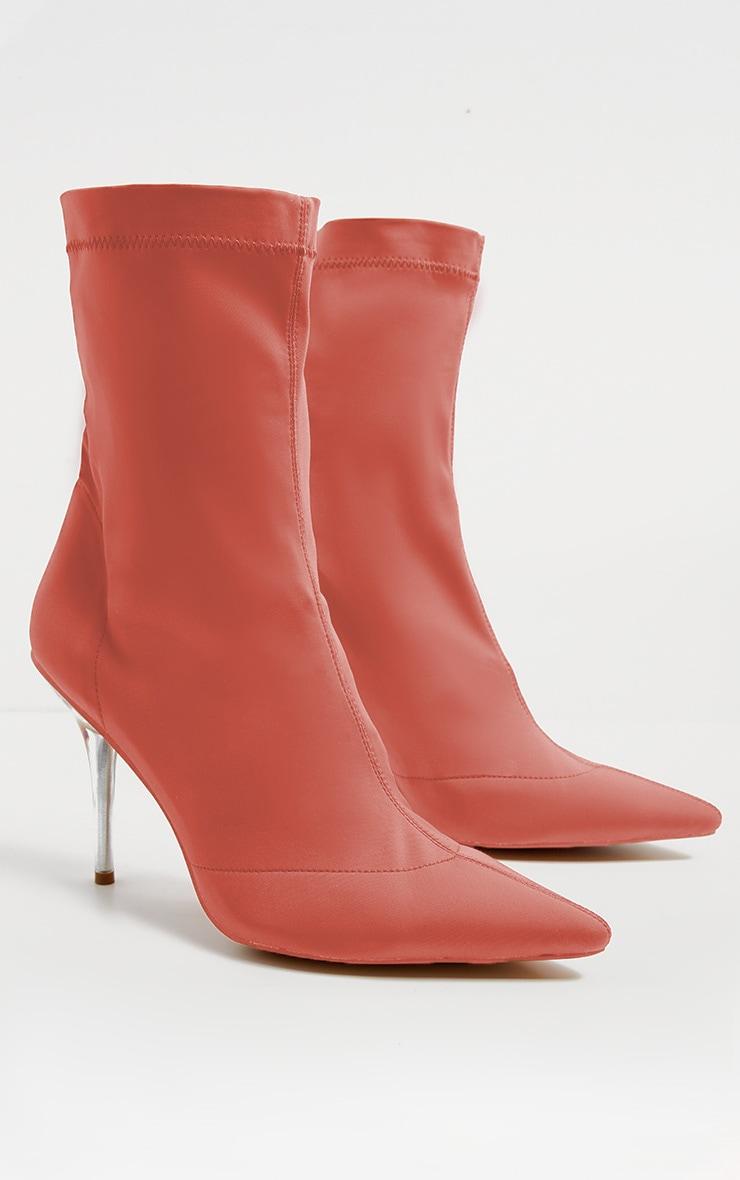 Deep Peach Clear Heel Sock Boot  3