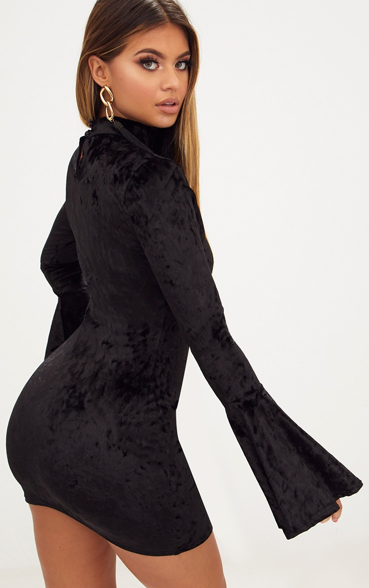Black Crushed Velvet High Neck Bell Sleeve Bodycon Dress 2