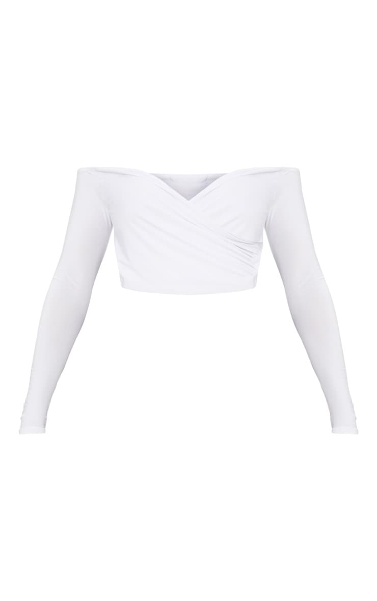 Shape White Slinky Bardot Crop Top 3