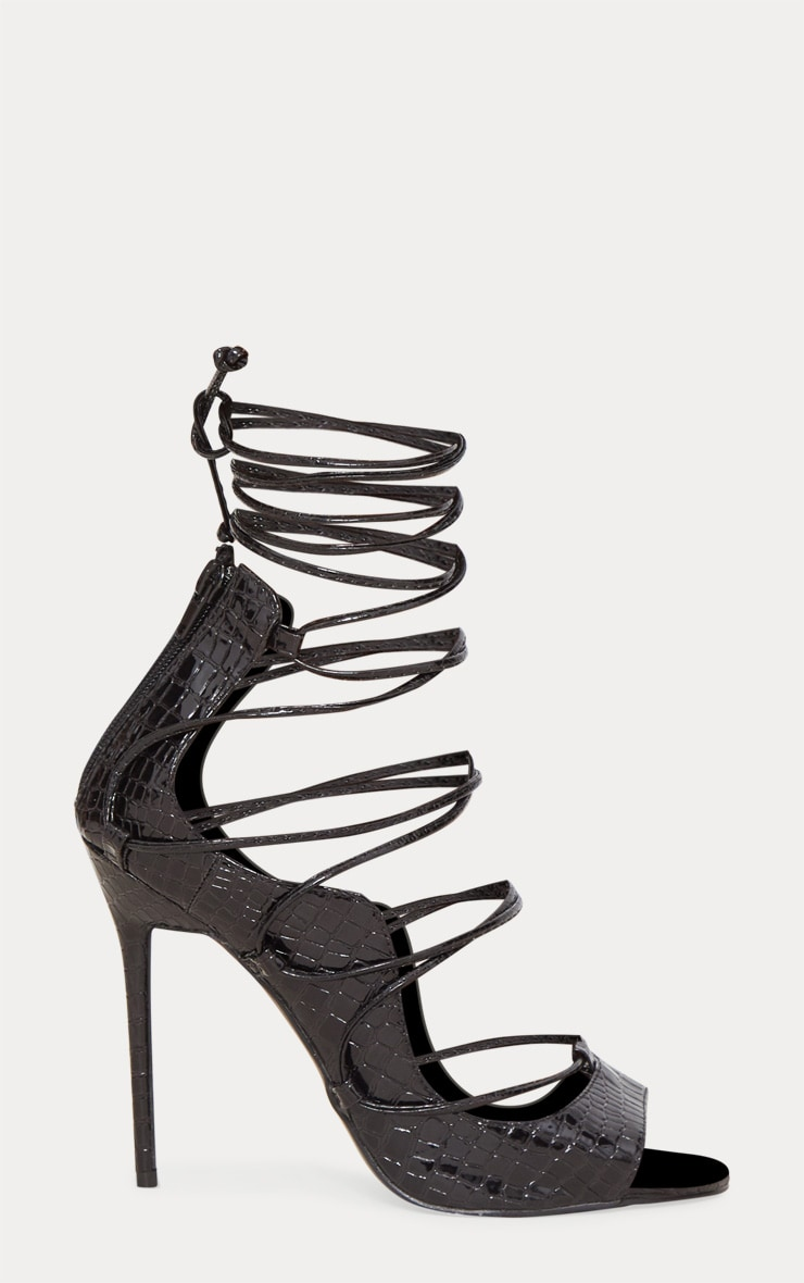 Black Ankle Lace Up Heel  3