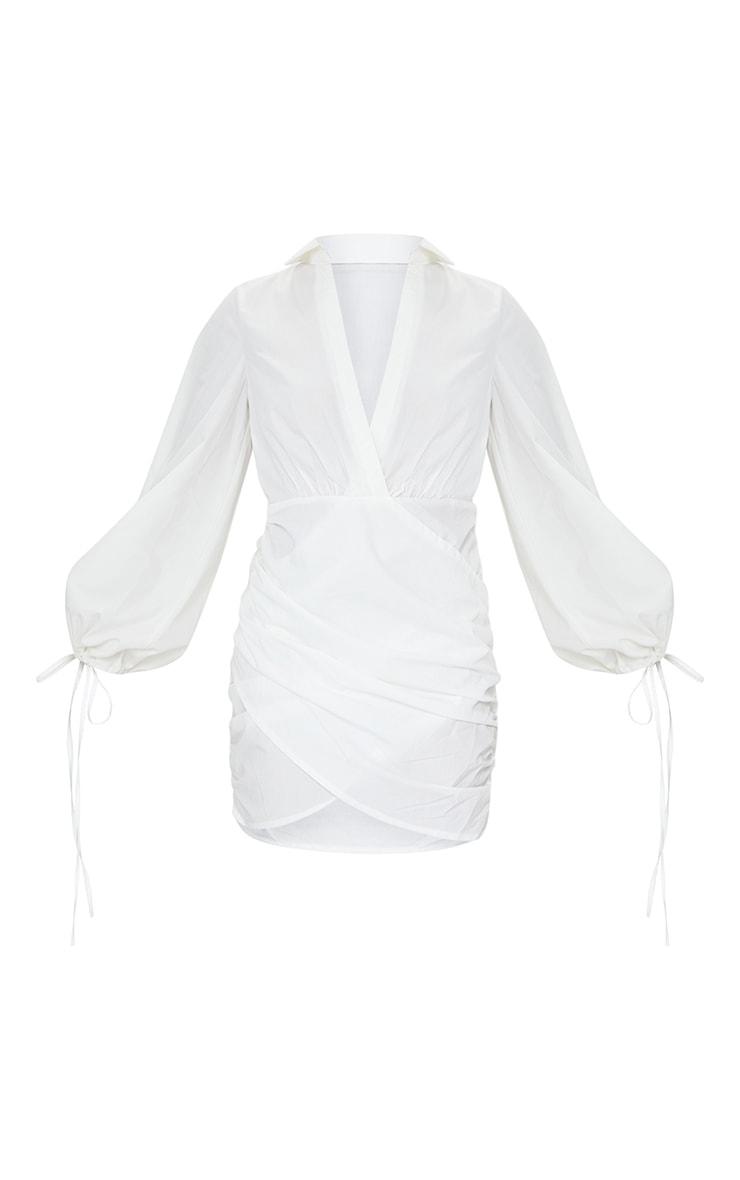 White Plunge Ruched Tie Cuff Shirt Bodycon Dress 5