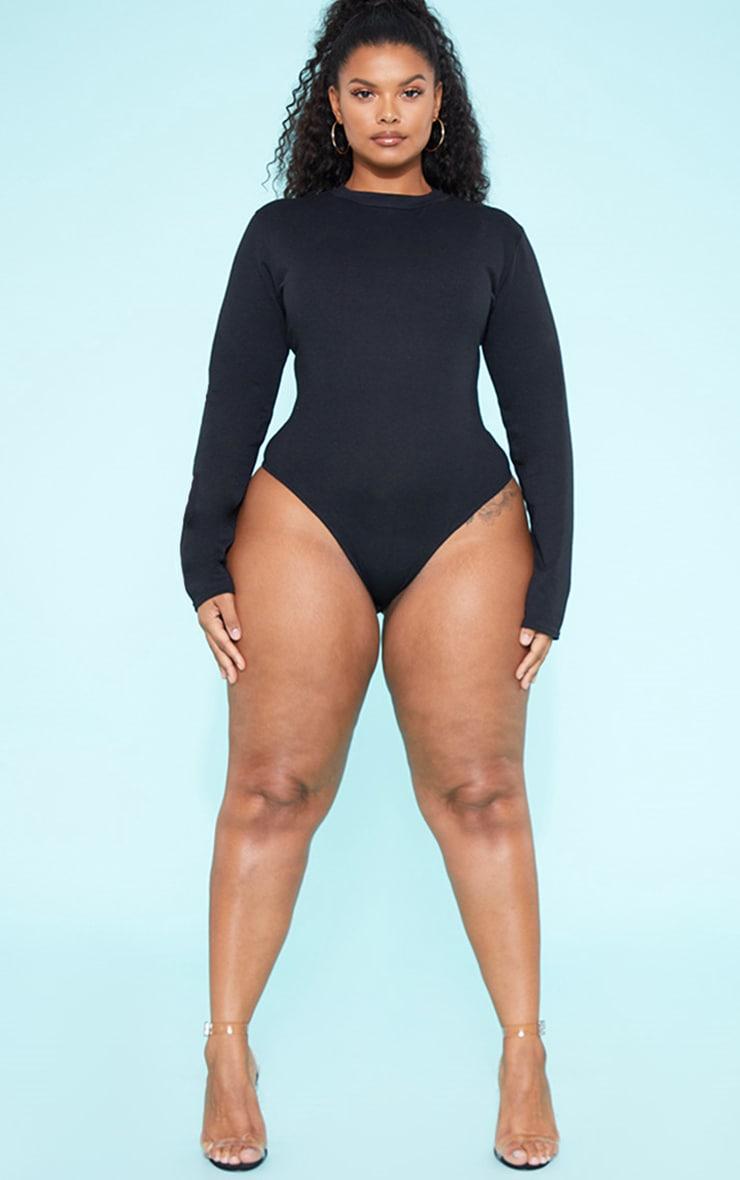 RECYCLED Plus Black Crew Neck Long Sleeve Bodysuit 1