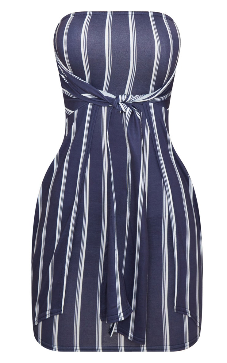 Navy Knot Front Bandeau Shift Dress  3