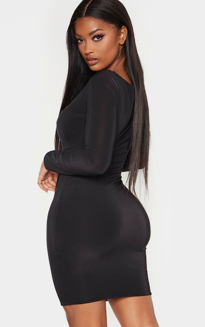 Shape Black Long Sleeve Slinky Ruched Bust Bodycon Dress