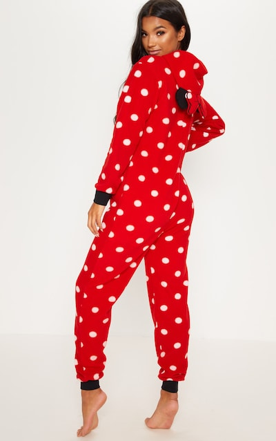 Red Disney Minnie Mouse Polka Dot Onesie