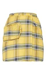 Yellow Check 3D Pocket Detail Tennis Skirt 3