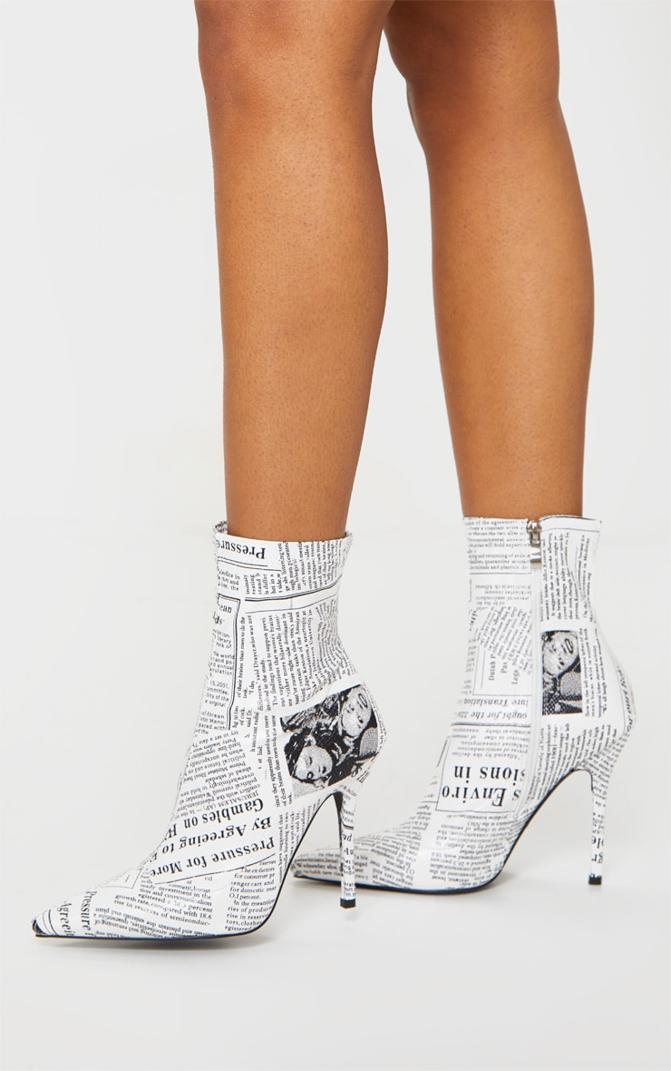 White Newspaper Print High Heel Pointed Boots 2