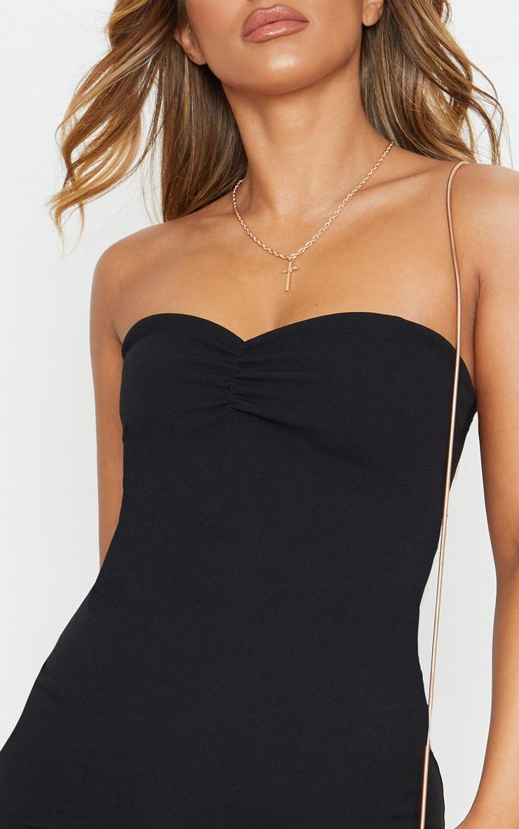 Petite Black Bardot Flippy Hem Bodycon Dress 5