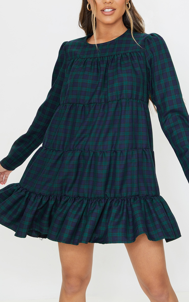 Green Check Tiered Hem Long Sleeve Shift Dress 4