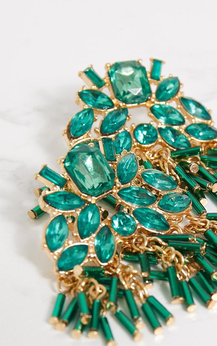 Bright Green Jewel Chain Drop Stud Earrings 4