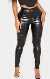 Shape Black PU Panelled Pants  2