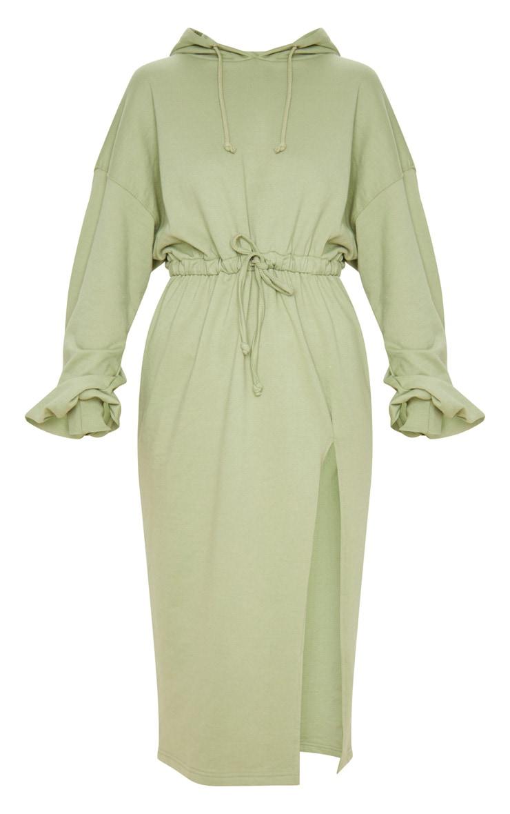 Sage Green Sweat Hoodie Split Midi Dress 3