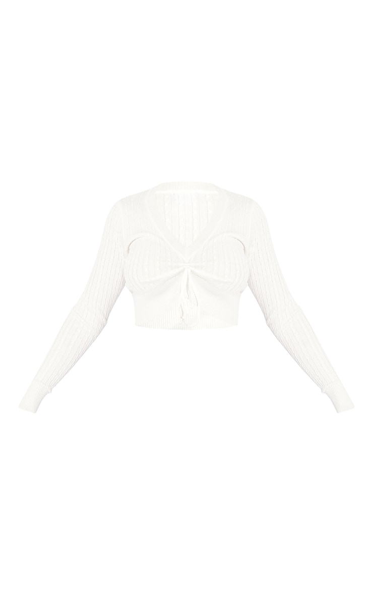 Cream Long Sleeve Ruched Front Cable Knit Sweater 5