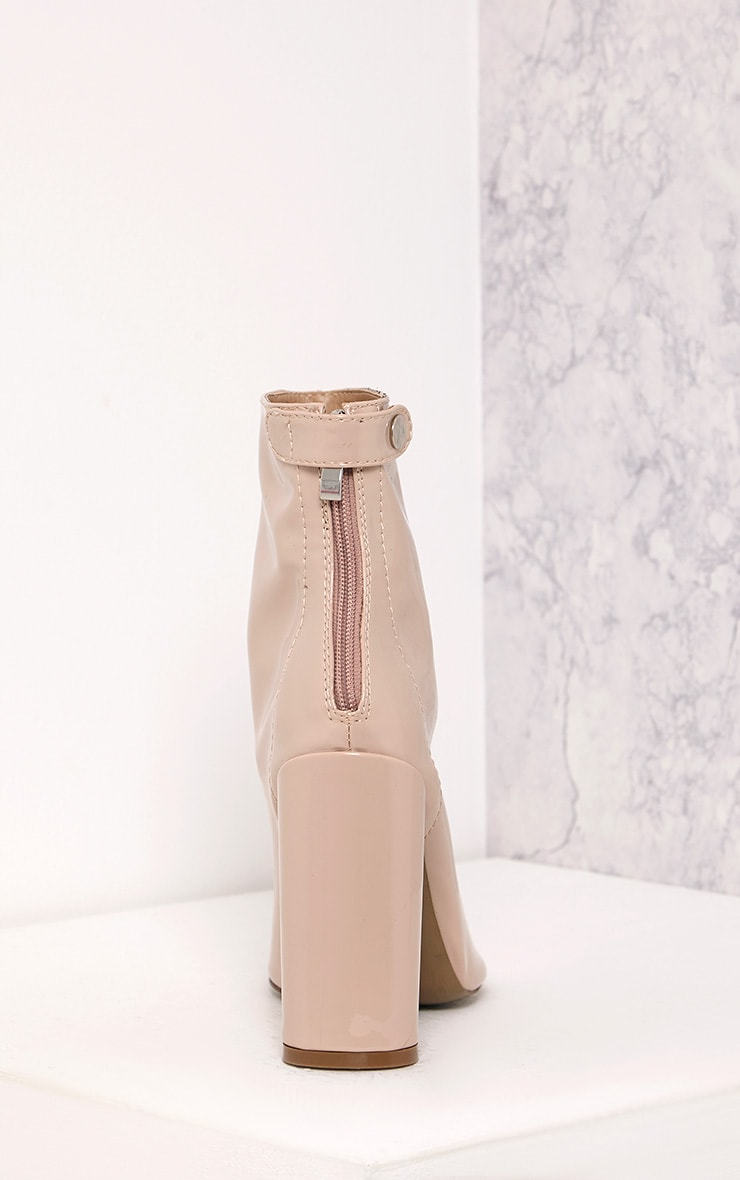 Amie Nude Patent Heeled Ankle Boots 4
