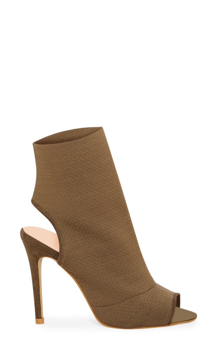 Khaki Knit Peeptoe Shoe Boot 3