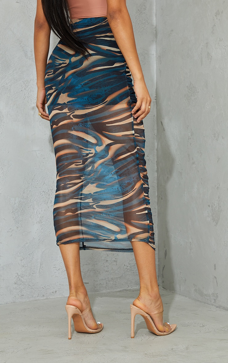 Teal Spray Paint Print Mesh Ruched Overlay Maxi Skirt 3