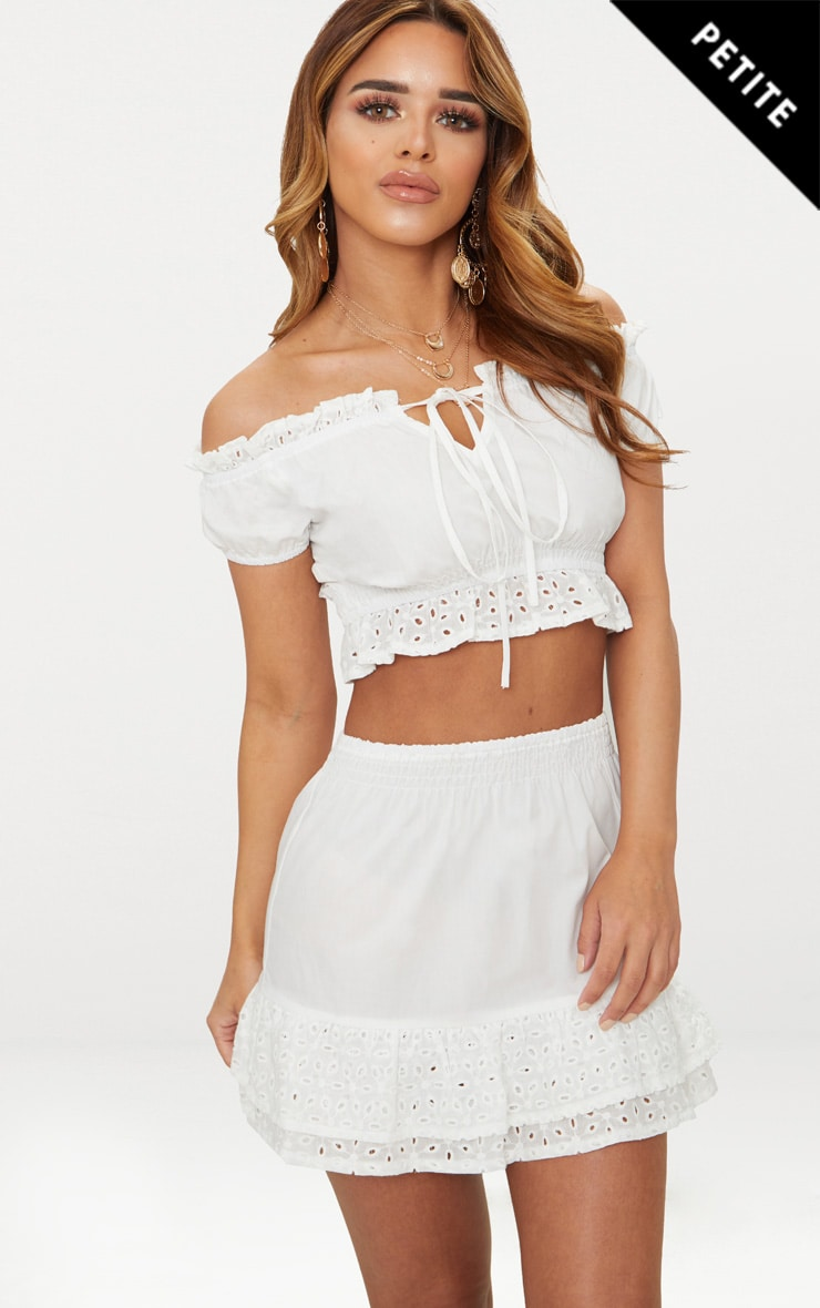 Petite White Broderie Anglaise Detail Bardot Crop Top 1