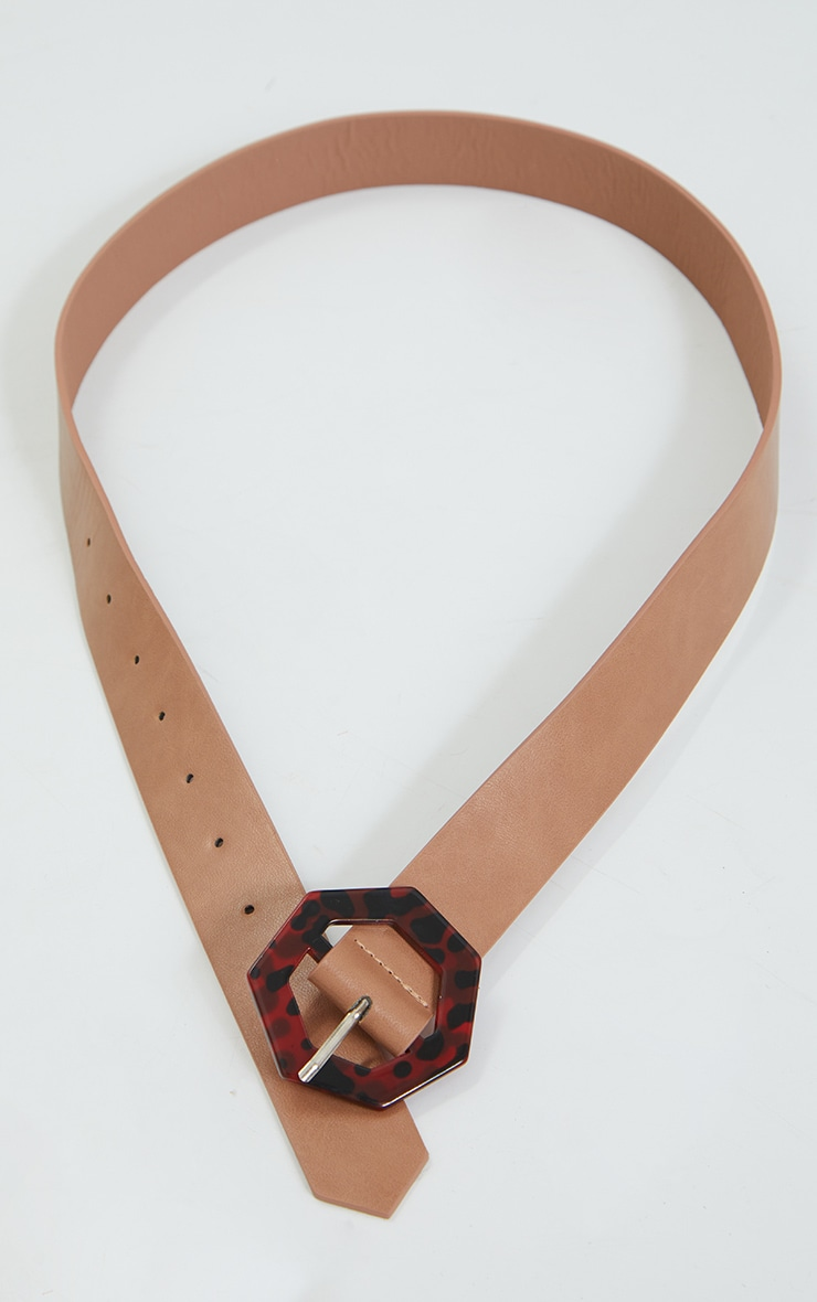 Tan PU Hexagon Leopard Waist Belt 3