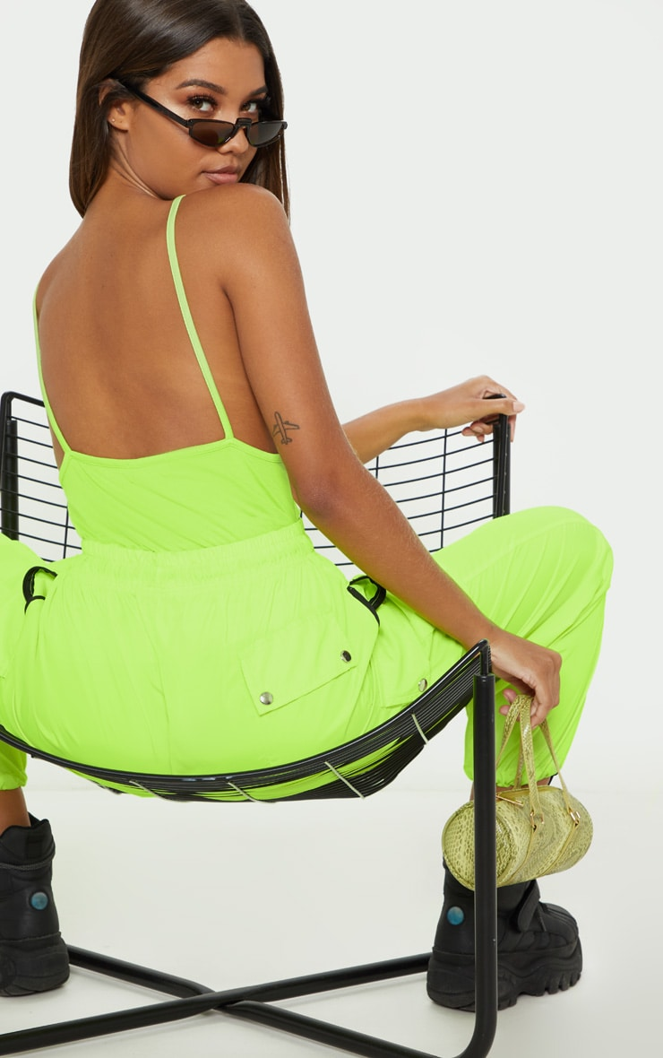 Neon Lime Jersey Low Back Vest 4