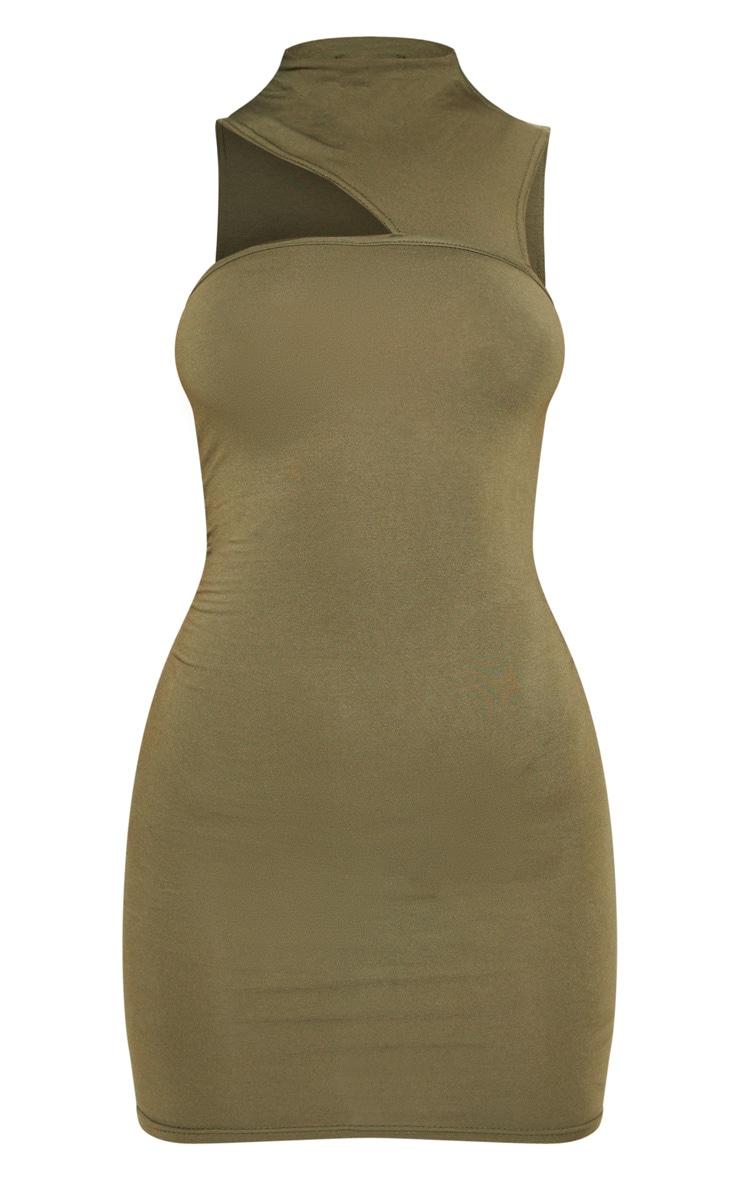 Khaki High Neck Cut Out Sleeveless Bodycon Dress 3