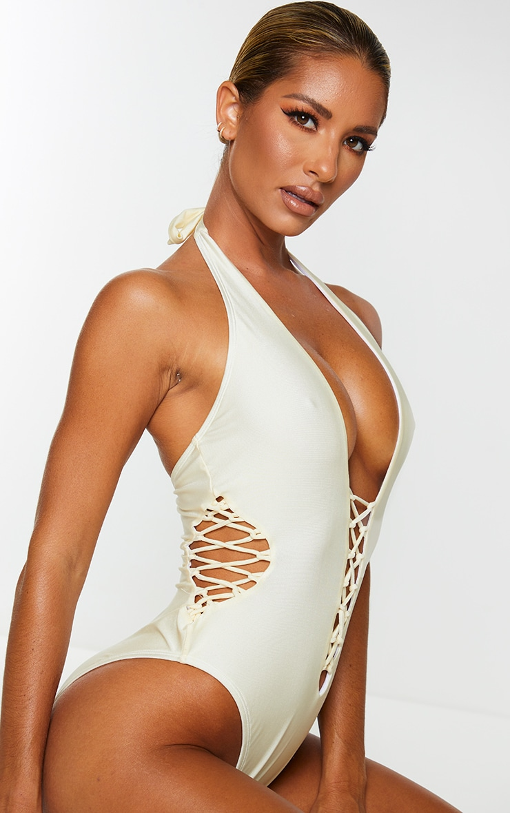 Cream Laced Detail Plunge Swimsuit 4