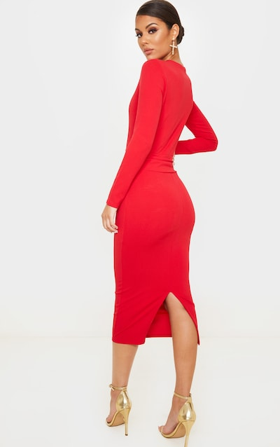 Red Long Sleeve Wrap Waist Midi Dress