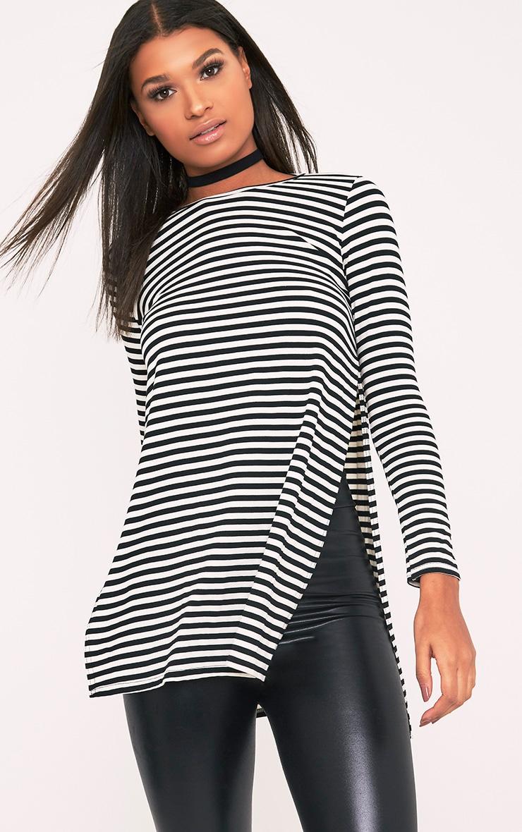 Odette Monochrome Stripe Side Split T-Shirt 1