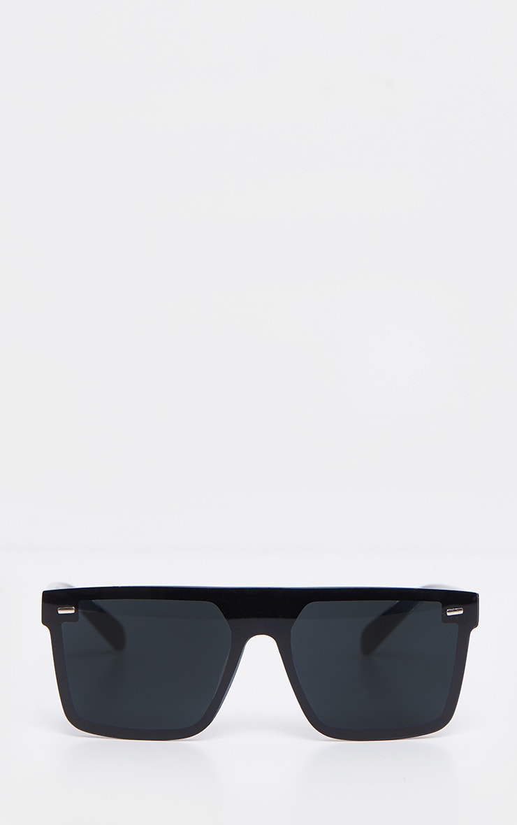 Black Oversized Resin Frame Fade Lens Sunglasses 2