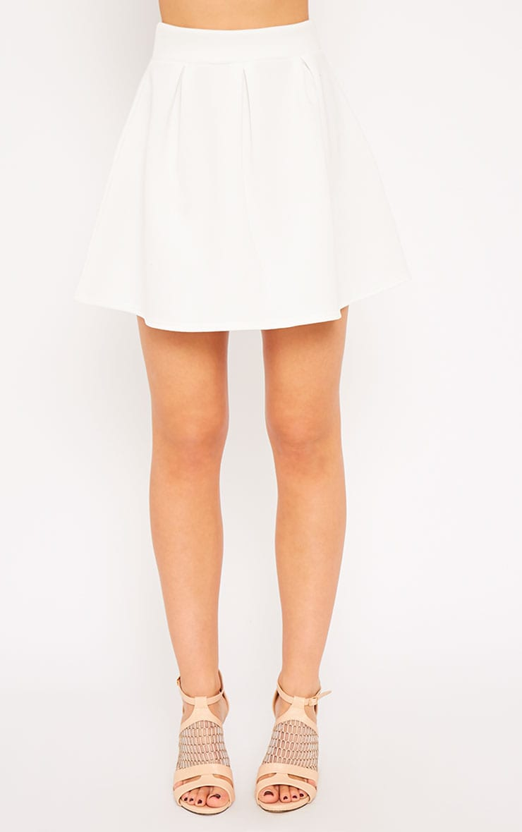 Astrid Cream Pleated Scuba Skater Skirt 4