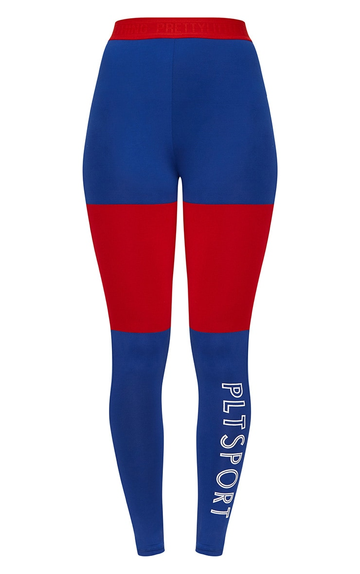 Cobalt Colour Block Sports Leggings 4