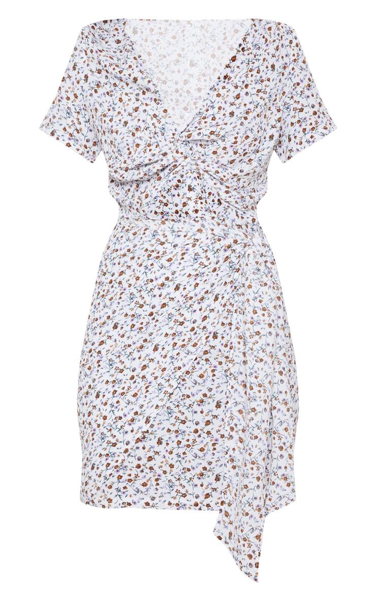 Cream Floral Print Twist Front Skater Dress 3