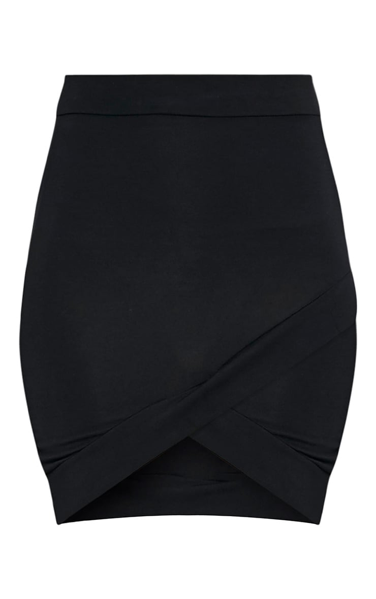 Basic Black Asymmetric Mini Skirt 3