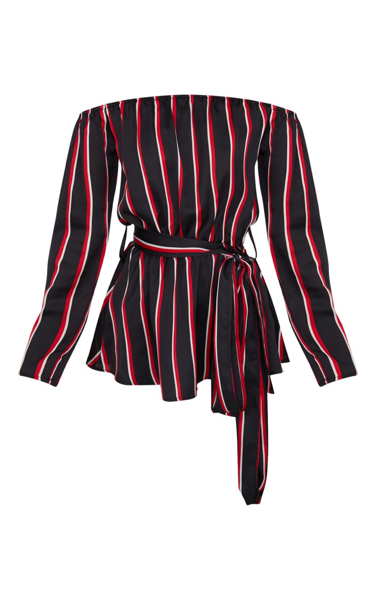 Black Bardot Tie Waist Blouse  3