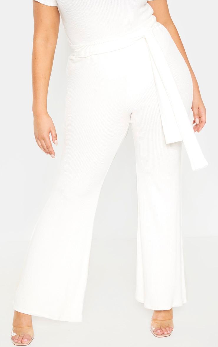 Plus Cream Brushed Rib Tie Waist Wide Leg Pants 2
