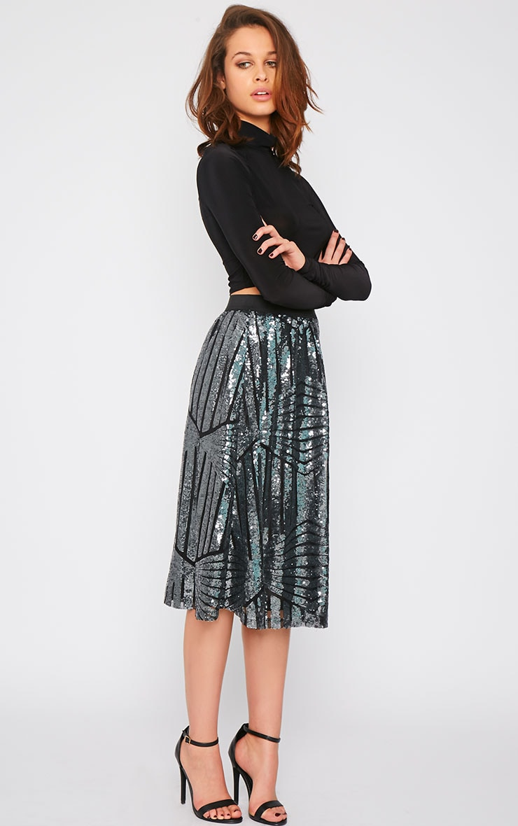 Amelia Silver Sequin Pattern A Line Skirt  4