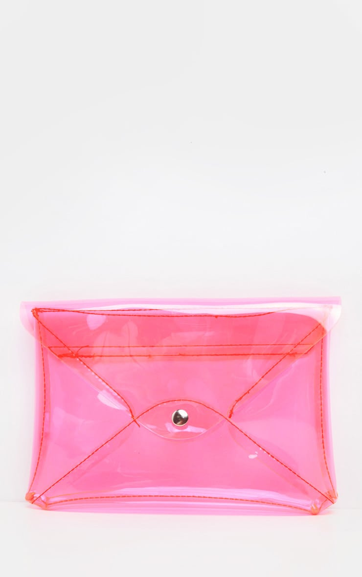 online store newest selection top-rated quality Neon Pink Transparent Envelope Clutch Bag