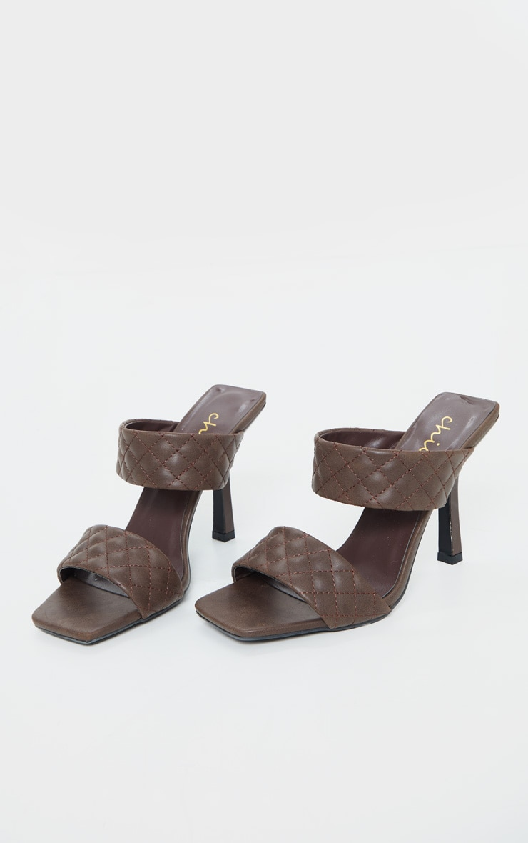Chocolate Twin Strap Quilted Mule Heels 3