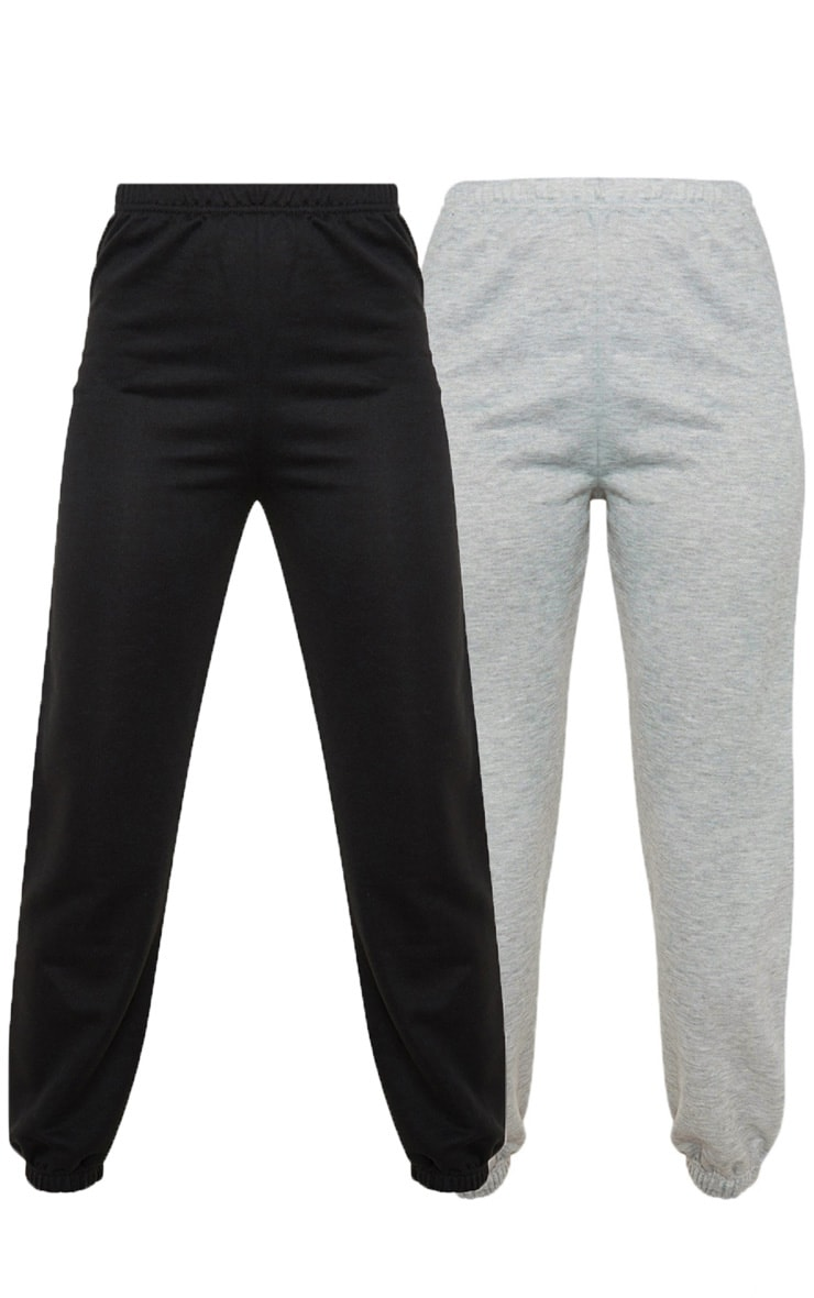 Black & Grey Basic Cuffed Hem Sweatpants 2 Pack 3