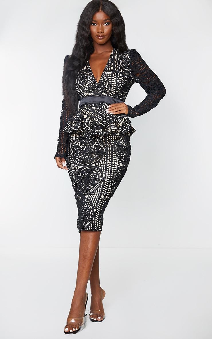 Black Lace Plunge Peplum Frill Midi Dress 1