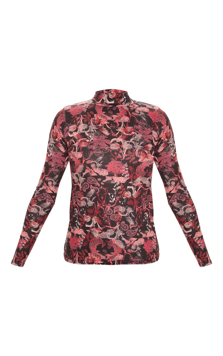 Pink Peacock Printed High Neck Long Sleeve T Shirt 3