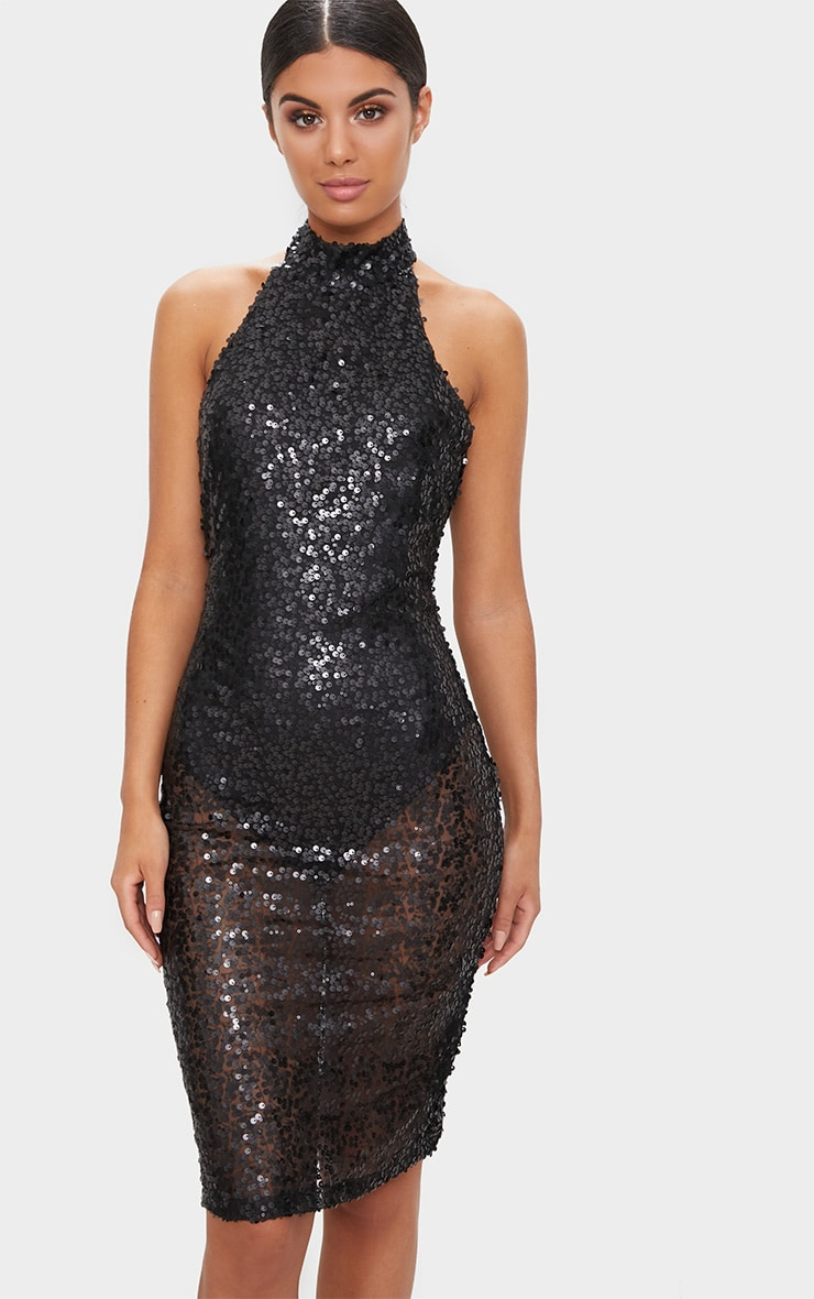 7b5ac9796e5 Black High Neck Sequin Midi Dress image 1