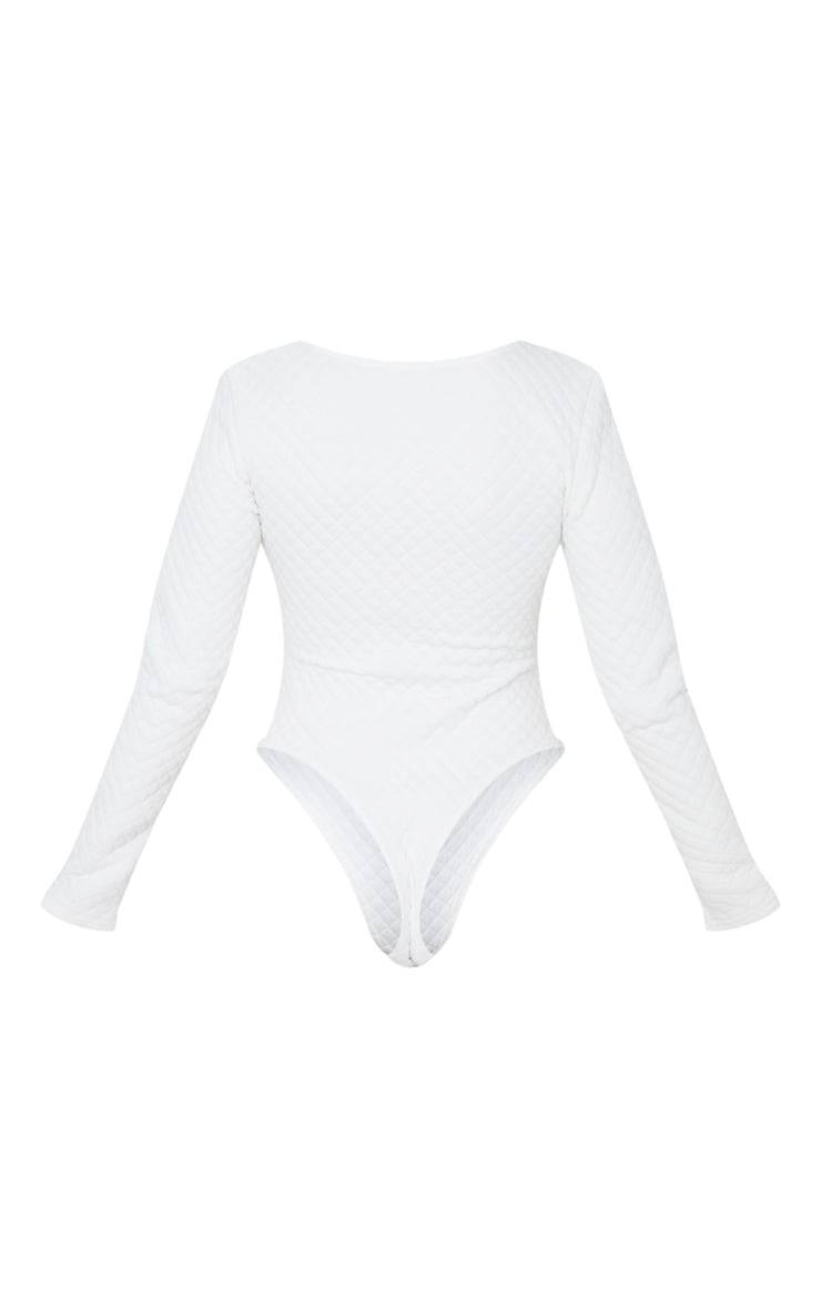 Petite White Quilted Cup Detail Bodysuit 6